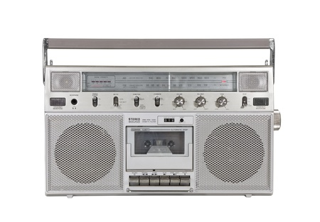 stereo cut: Old portable cassette stereo isolated  Stock Photo