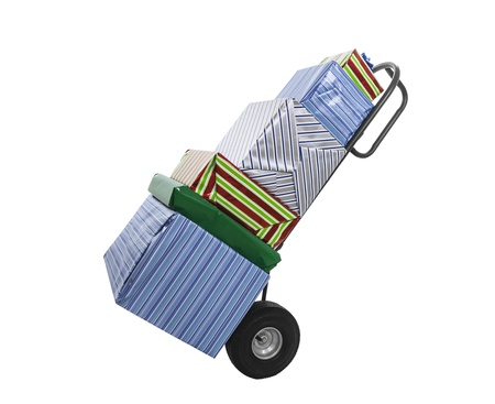 Wrapped gifts on hand cart trolley isolated with clipping path. Stock Photo - 16697352