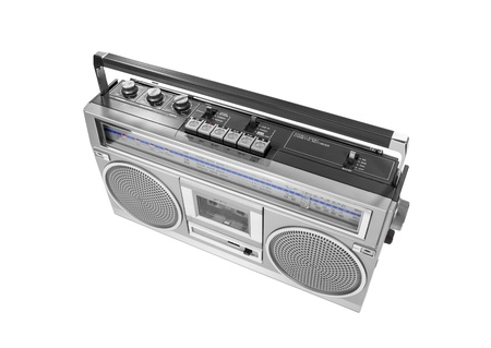 short wave: Portable vintage radio cassette recorder isolated with clipping path.