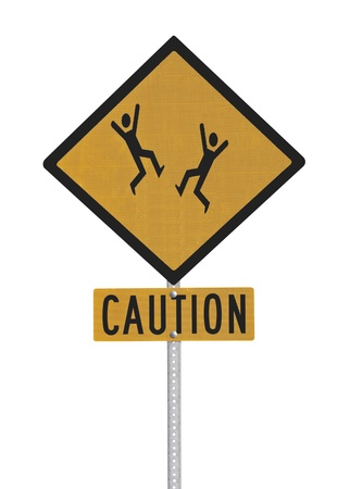Crazy dancing people caution sign isolated with clipping path. Stock Photo - 16985500