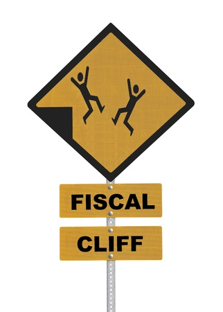 fiscal cliff: Fiscal cliff people falling warning sign isolated.