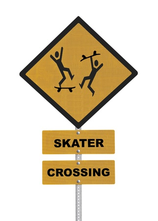 Skater Crossing caution road sign isolated on white   photo