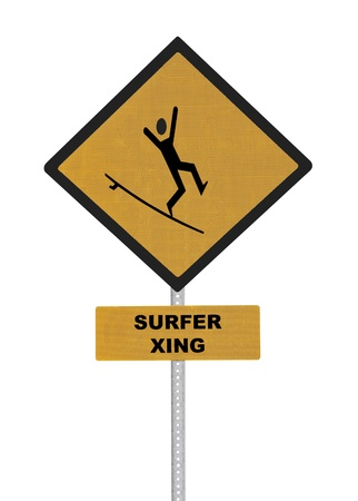 Surfer crossing caution sign isolated on white. Stock Photo - 17035981