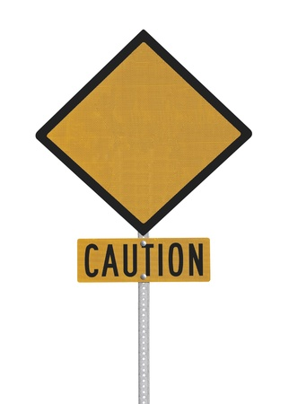 Blank highway caution sign isolated with clipping path. Stock Photo - 17060298