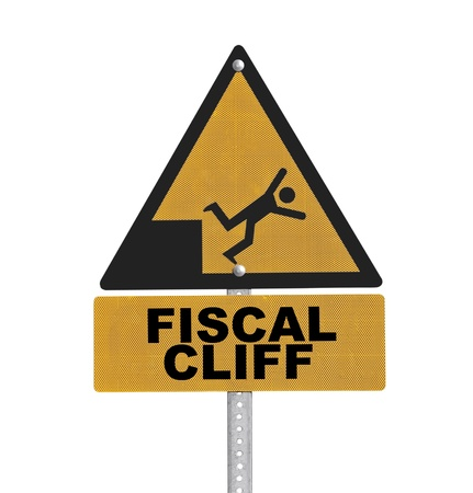 fiscal cliff: Fiscal cliff warning sign isolated. Stock Photo