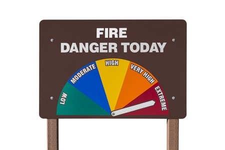 Extreme fire danger today sign isolated with clipping path  Stock Photo