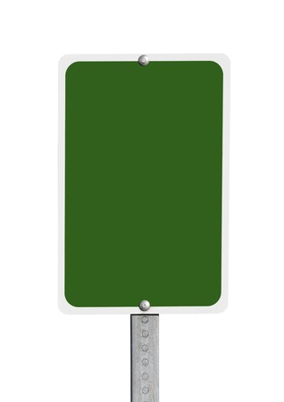Blank green road sign isolated with clipping path. Stock Photo - 17123278