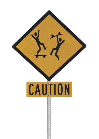 Crazy skate board riders caution sign isolated with clipping path. Stock Photo - 17123283