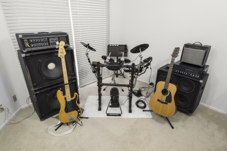 Rock band practice set up inside a modern suburban home  photo