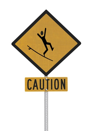 Crazy surfer caution sign isolated with clipping path  Stock Photo - 17180484