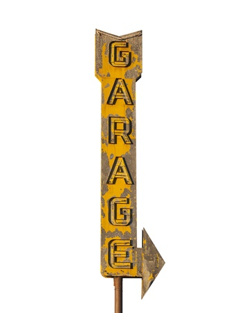 Vintage neon garage arrow sign isolated with clipping path.