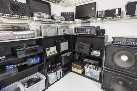 electronic store: Interior music and electronics store with second hand vintage equipment. Stock Photo