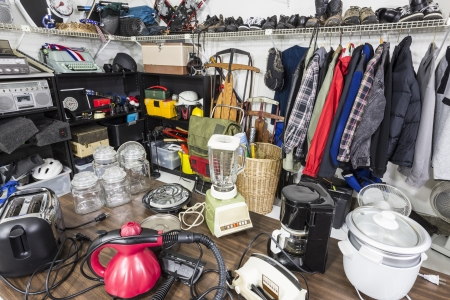 thrift box: Interior garage sale, housewares, clothing, sporting goods and toys