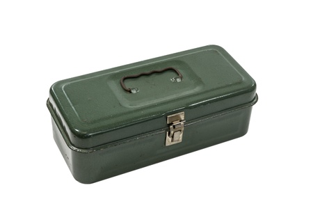 VIntage small green rusty metal tool box isolated with clipping path. photo