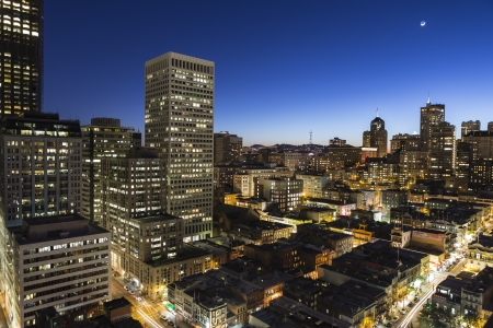 SAN FRANCISCO, CALIFORNIA - JAN 13: Dusk view of Nob Hill and Chinatown.  San Francisco's 80% hotel occupancy has pushed average room rates above $155 per night on January 13, 2013 in San Francisco, Ca. Stock Photo - 17403325
