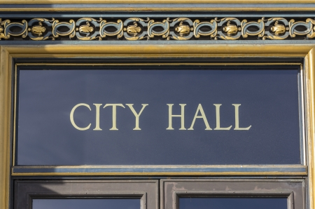 local government: City Hall sign in San Francisco, California
