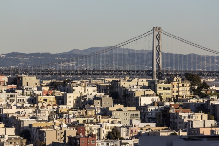 San Francisco hillside homes with the Bay Bridge in background  Stock Photo - 17432436