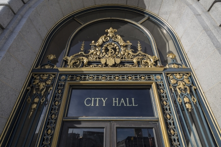 SAN FRANCISCO, CALIFORNIA - JAN 14:  Editorial view of San Franciscos Historic City Hall entrance  .