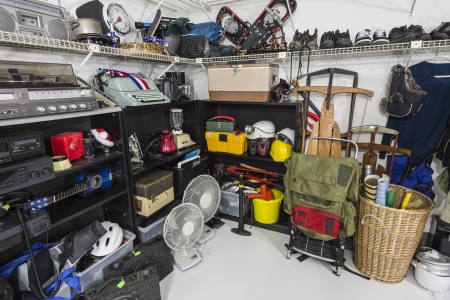 thrift box: Vintage Thrift Store Garage Sale Merchandise Stock Photo