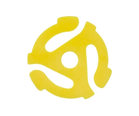 45: Iconic yellow plastic adapter for playing 45 r.p.m. vinyl singles on 33 r.p.m. record players.