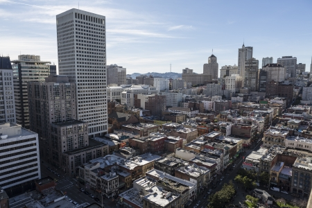 nob hill: SAN FRANCISCO, CALIFORNIA - JAN 13: Editorial afternoon view of tourist friendly Nob Hill and Chinatown.