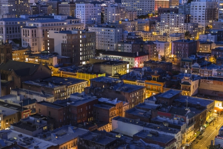 nob hill: SAN FRANCISCO, CALIFORNIA - JAN 13:  Editorial night view of San Franciscos historic Chinatown and Nob Hill streets, buildings and rooftops. Editorial