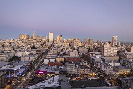 nob hill: Editorial twilight view towards Nob Hill and San Franciscos financial district. Editorial