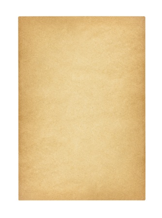 Antique aged blank paper isolated with clipping path. photo