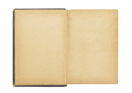 Blank first page in antique book isolated with clipping path. Stock Photo - 17692589