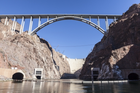 Below the historic Hoover Dam and bridge on the Colorado River. Stock Photo - 17692602