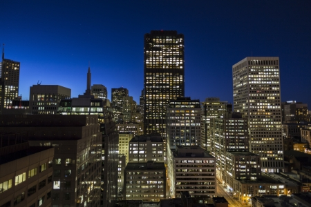 Editorial view of downtown San Francisco at dawn.