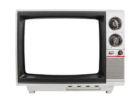 Grungy vintage portable television isolated with clipping path.