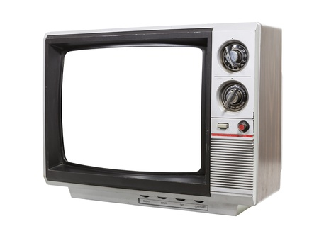 Worn old grungy portable television isolated with clipping path  Stock Photo - 17844899