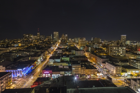 Editorial night view towards historic Nob Hill in the heart of downtown San Francisco, California. Stock Photo - 17951628