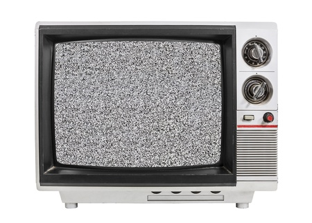 retro tv: Grungy vintage portable television isolated with static screen and clipping path. Stock Photo