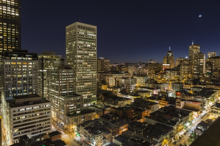 SAN FRANCISCO, CALIFORNIA - JAN 13:  Night view of Chinatown and Nob Hill Tourist Areas.  Editorial