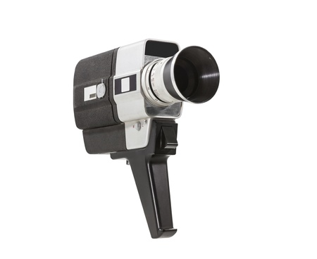 super 8: Vintage super 8 film camera isolated with clipping path.