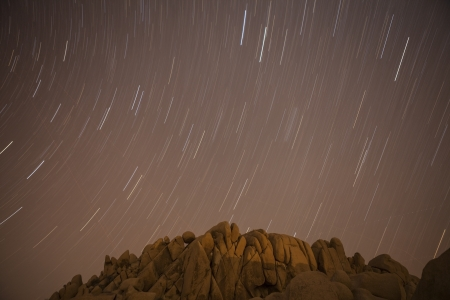star path: Jumbo Rocks star path at Joshua Tree National Park in Californias Mojave desert.