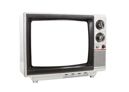 Dirty portable yelevision isolated with cut out screen and clipping path. photo