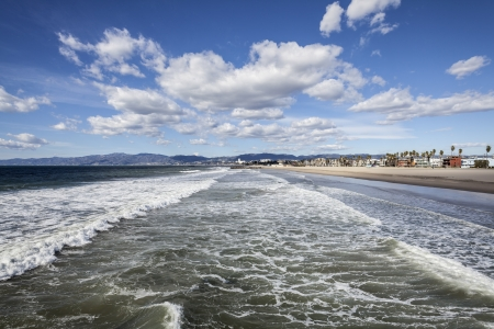 Clear winter sky and windy surf at famous Venice beach in Los Angeles, California USA. Stock Photo - 17964778