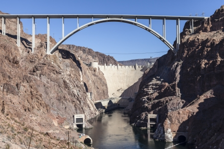 bypass: Hoover Dam bypass bridge canyon view in Nevadas Mojave desert.