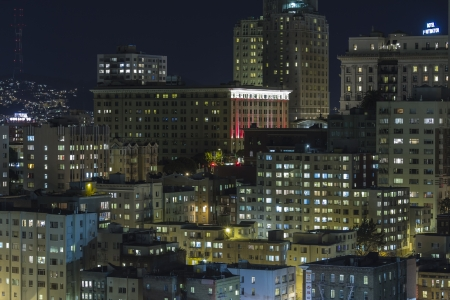 nob hill: Editorial night view towards historic Nob Hill in the heart of downtown San Francisco, California. Editorial