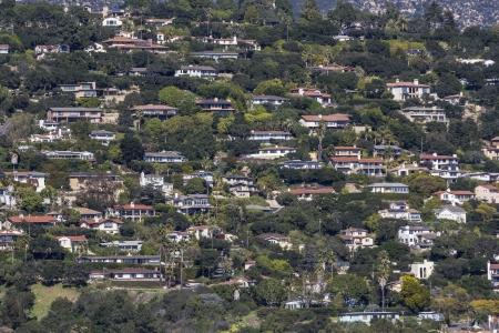 suburbs: Affluent ocean view hillside homes in Santa Barbara, California