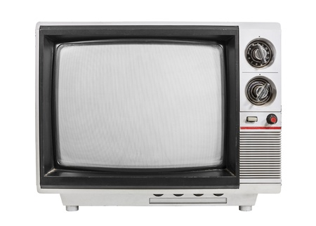 Grungy vintage portable television isolated with turned off screen. Stock Photo - 18069899