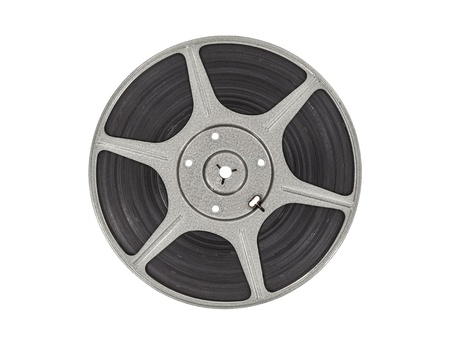 Vintage film movie reel isolated with clipping path.