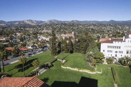 Santa Barbara courthouse lawn and hillside homes. Stock Photo - 18110699