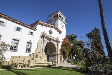 spanish house: Historic courthouse entrance in Santa Barbara, California. Editorial