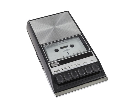 Vintage portable cassette tape player and recorder.