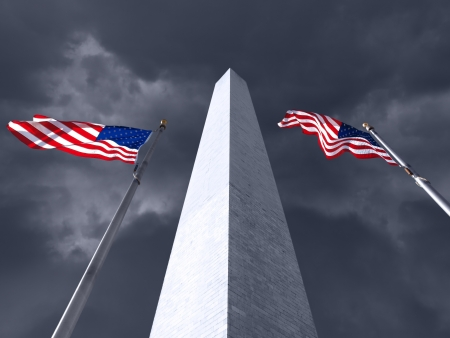 Dark Storm Clouds at the Washington Monument in DC. Stock Photo - 18413191