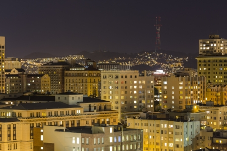 San Francisco's Nob Hill and Twin Peaks at Night. Stock Photo - 18467484
